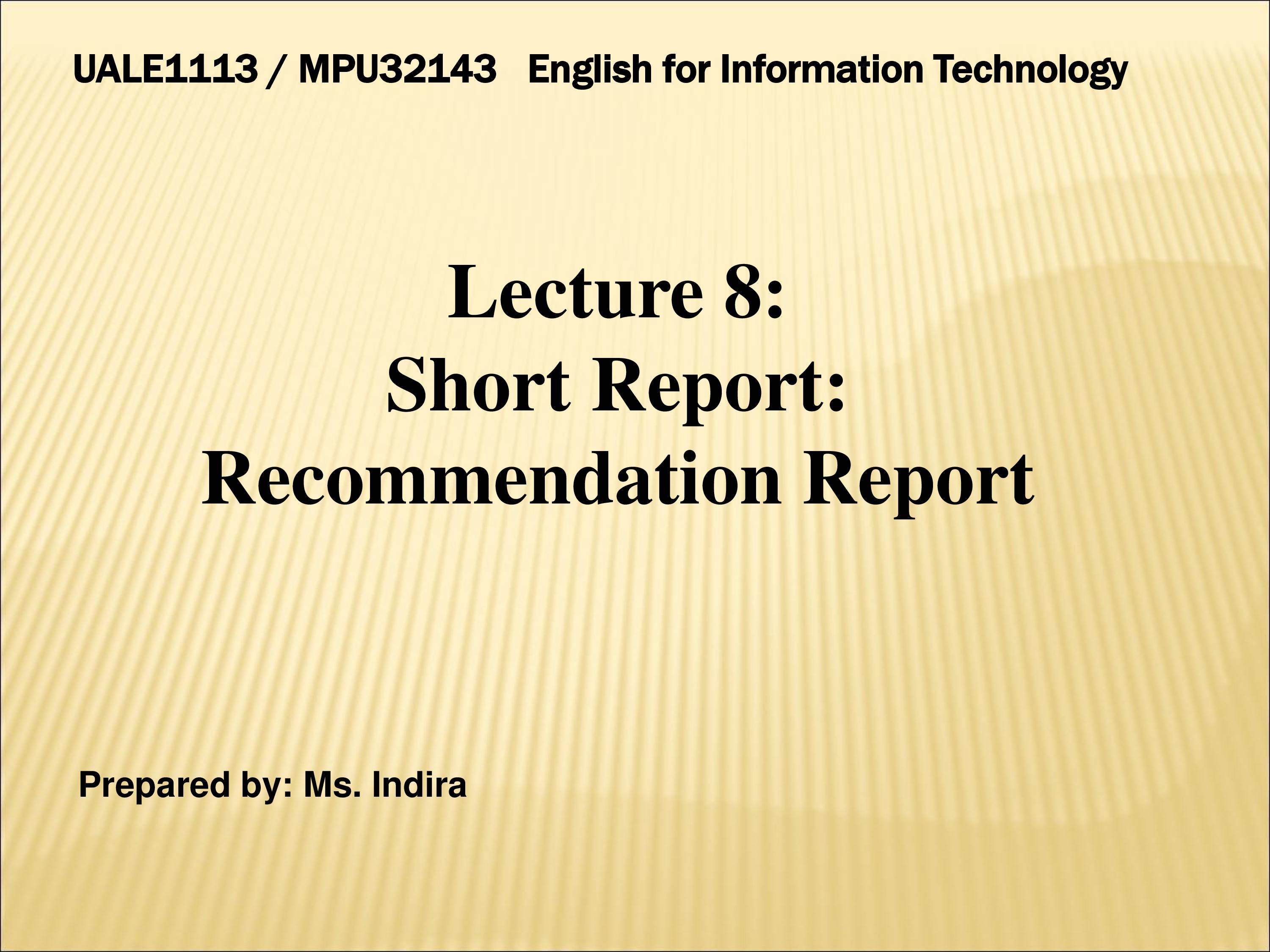 PPT On Writing Recommendation Report