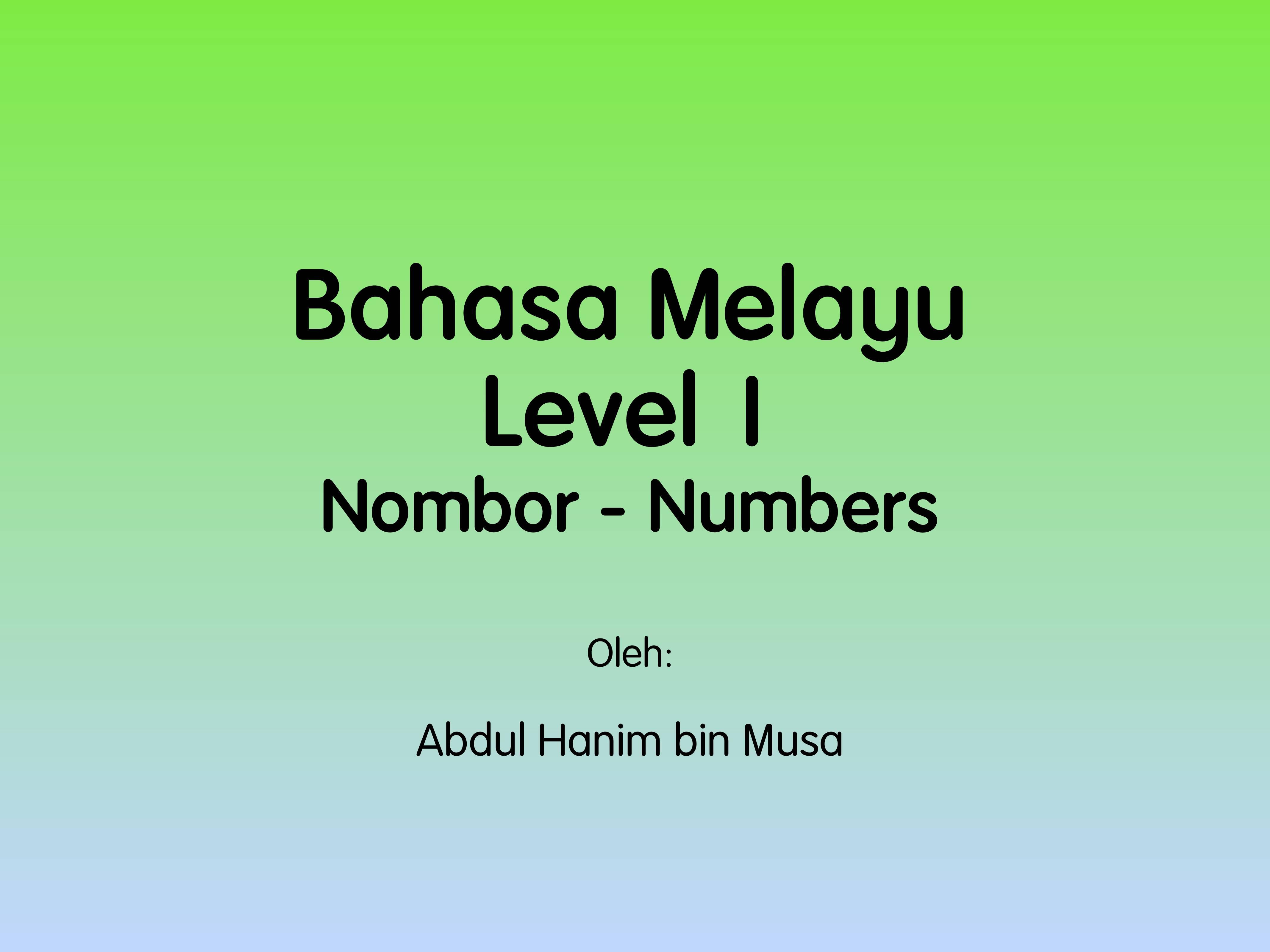 Numbers - Nombor