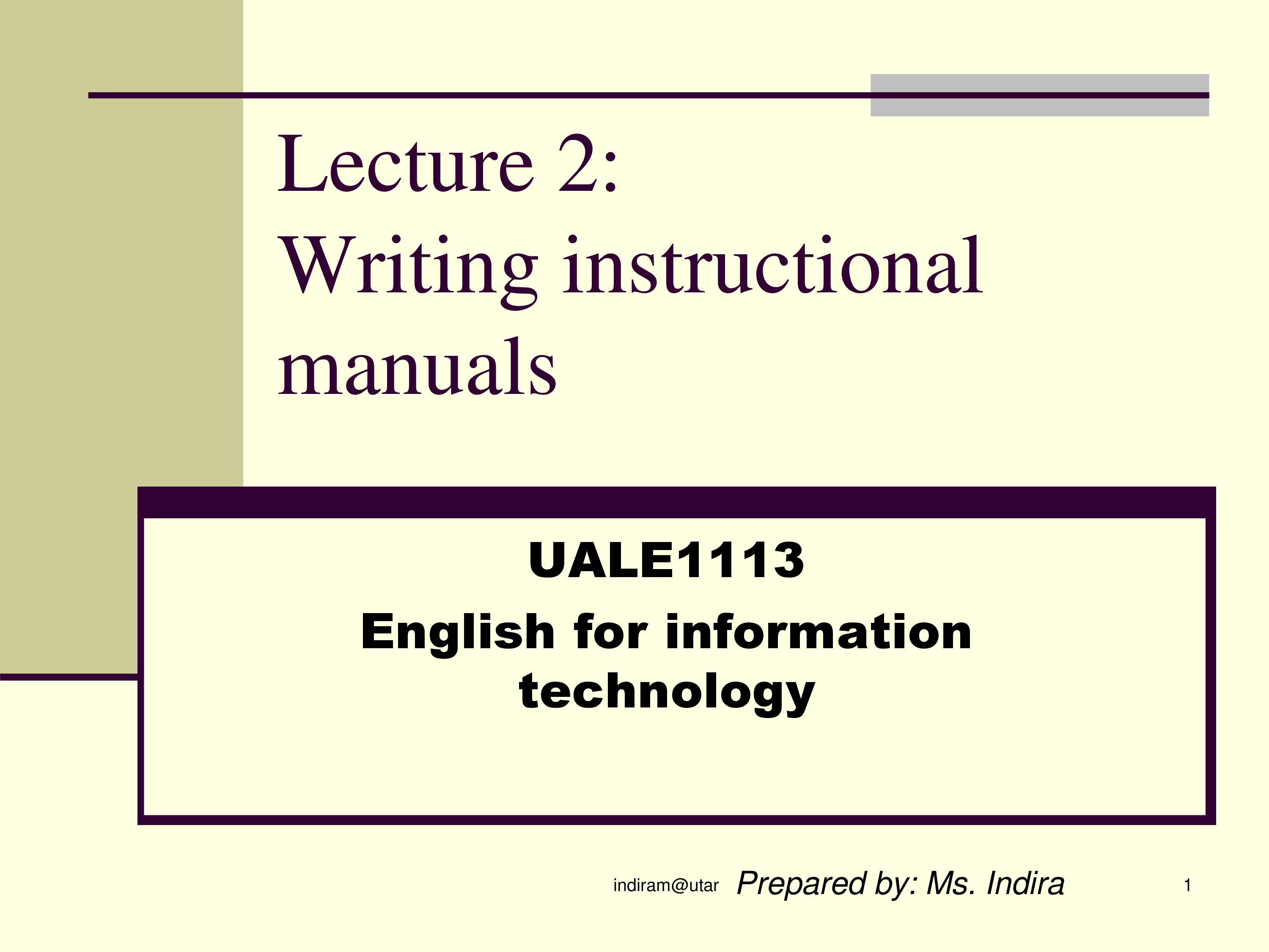 PPT On Writing Instructional Manual