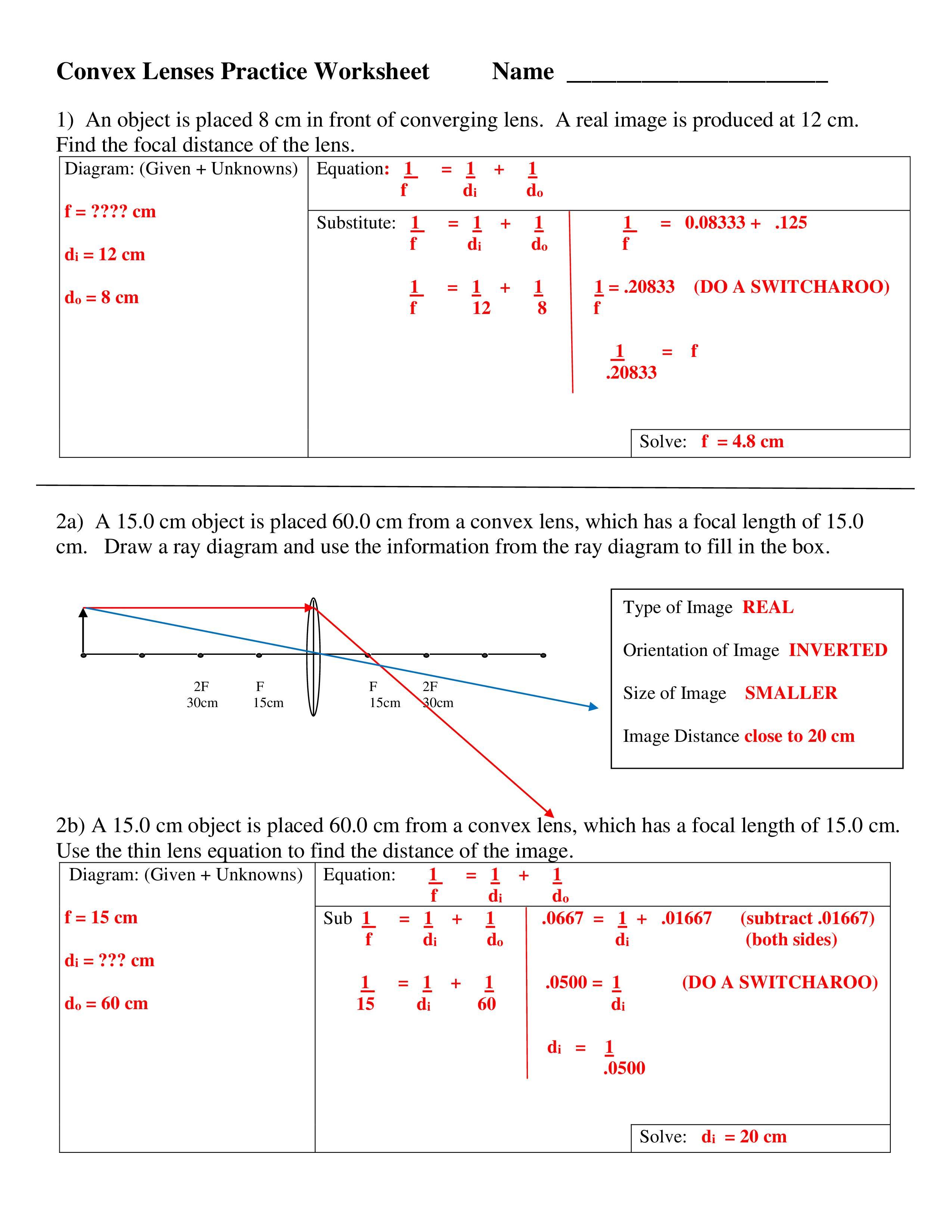 Physics Optics Convex Lens Practice Worksheet Notes