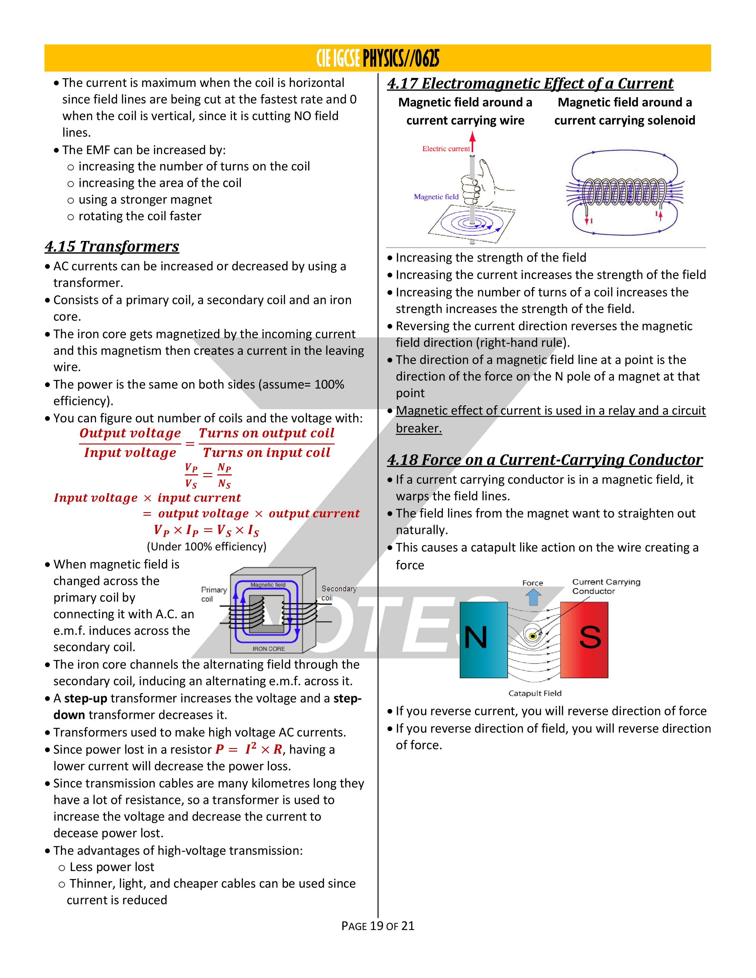 IGCSE Physics Revision Notes   Notes